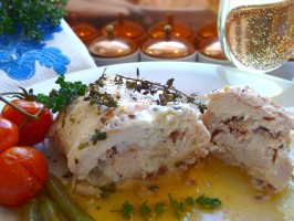 Boursin Cheese and Bacon Stuffed Chicken Breasts - for Two!. Photo by BecR