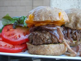 Bison Burgers With Cabernet Onions and Wisconsin Cheddar. Photo by Chef*Lee