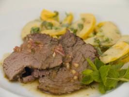 Tea-Smoked Beef Tenderloin With Pear Salad. Photo by FolkDiva