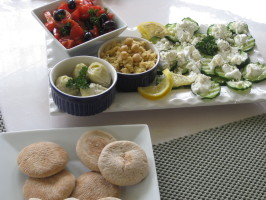 Meze Platter: Hummus, Shrimp Salad, Cucumber Salad. Photo by FrenchBunny