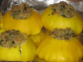 Rice Stuffed Sunburst / Patty Pan Summer Squash. Photo by magpie diner