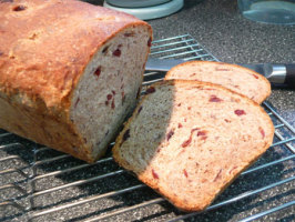 Rye W/Dried Cranberries and Toasted Pecans (A-B-M Dough Cycle). Photo by Mikekey
