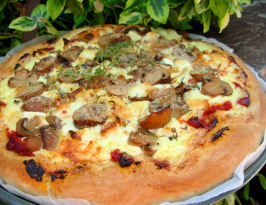 Mushroom-And-Goat Cheese Bechamel Pizza. Photo by French Tart