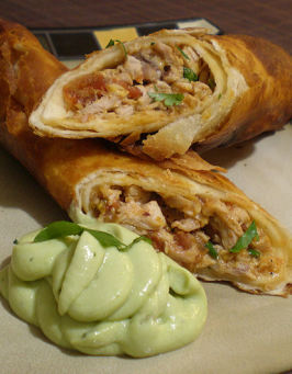 Flautas De Pollo With Avocado Cream. Photo by Sandi (From CA)