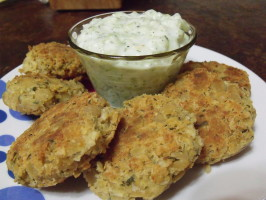 Chickpea Fritters With Tzatziki Sauce. Photo by Darkhunter
