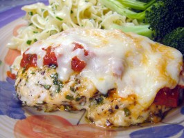 Easy Baked Chicken Parmesan (No Breading). Photo by Lori Mama