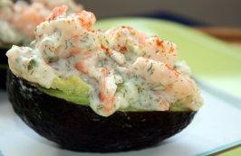 Avocado Stuffed With Shrimp. Photo by Sarah_Jayne