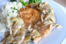 Chicken Francaise With Artichoke Hearts. Photo by Tea Jenny