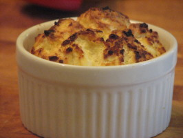 Twice-Baked Goat Cheese Soufflés on a Bed of Mixed Greens. Photo by Bonnie G #2