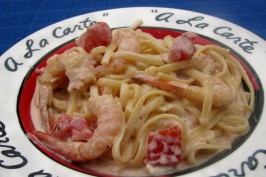 Emeril's Shrimp and Pasta in a Spicy Tomato-Chili Cream Sauce. Photo by lazyme