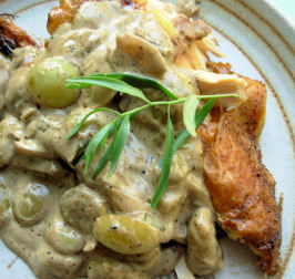Crispy Roast Chicken With Riesling, Grapes and Tarragon. Photo by French Tart