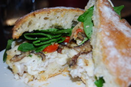 Parmesan Crusted Fish & Portobello Ciabatta Sandwich. Photo by MamaMeag