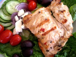 Greek Salad With Oregano Marinated Chicken. Photo by gailanng