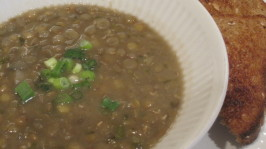 Cypriot Sour Lentil Soup (Fakes Xithati) (Vegan). Photo by magpie diner