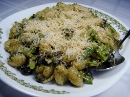 Gnocchi With Asparagus & Olives in a Creamy Pesto Sauce. Photo by Lori Mama