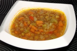 Ina Garten's  Lentil Vegetable Soup(Vegetarianized). Photo by Boomette