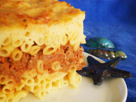 Island Pasticio (Greek Noodle Casserole With Ground Meat). Photo by awalde
