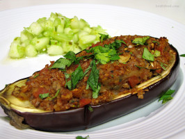 North African Bulgar Stuffed Baby Eggplant. Photo by loof