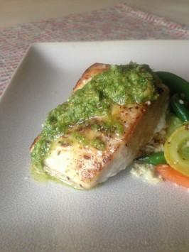 Pan roasted cobia with double basil pesto recipe for Cobia fish recipe