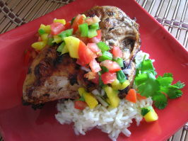 Jerk Chicken (Bbq'd) With Mango Salsa. Photo by Pam-I-Am