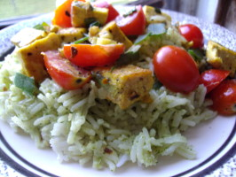 Coconut Curried Tofu with Green Jasmine Rice. Photo by Nikoma