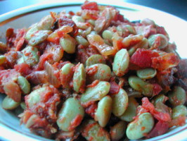 Barbecued Lima Beans Baked. Photo by Kumquat the Cat's friend