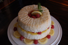 Lemon Angel Food Cake Filled With Lemon Curd and Fresh Raspberry. Photo by Chef #825672