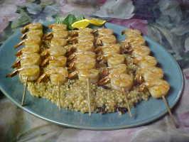 Citrus Macadamia Couscous with Grilled Shrimp. Photo by Chef PotPie