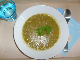 California Pizza Kitchen's Dakota Smashed Pea & Barley Soup. Photo by Wobin