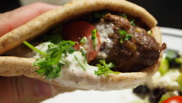 Lamb or Beef Kebab Pitas With Tzatziki. Photo by Random Rachel