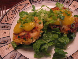 Coconut Curry Shrimp Cakes W / Papaya Lime Sauce. Photo by Galley Wench