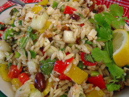 Macrina's Orzo Salad With Cucumber, Bell Pepper, Basil and Feta. Photo by Sue Lau