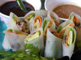 Duck Spring Rolls With Dipping Sauces. Photo by Rita~
