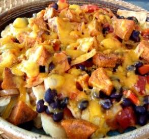 Bean & Sweet Potato Nachos