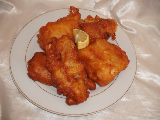 Battered fish like the fish and chip shop recipe for Air fryer fish and chips