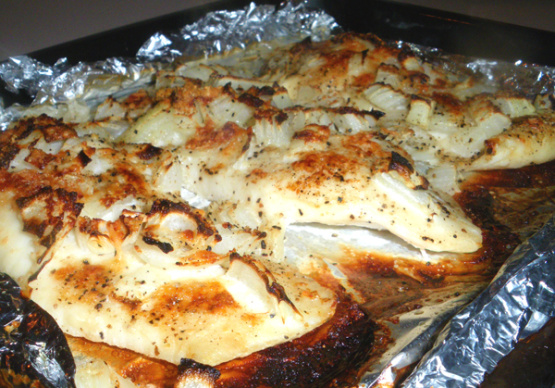 Easy cheese baked fish recipe genius kitchen for Fish and cheese