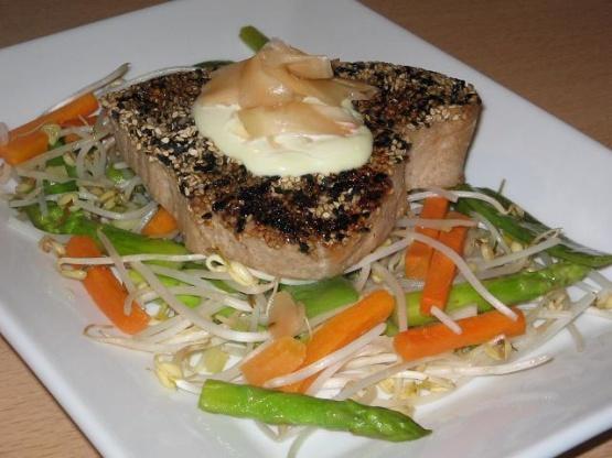 Teriyaki Tuna With Wasabi Mayonnaise And Pickled Ginger Recipe - Food ...