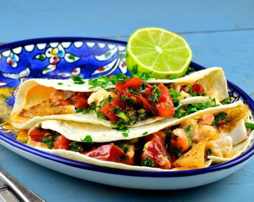 Healthy fish tacos with chipotle cream recipe genius kitchen for Healthy fish tacos