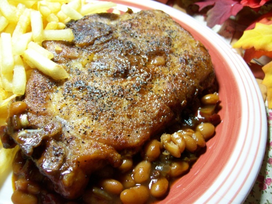 Pork chop and baked bean recipe