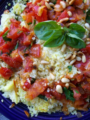 Israeli Couscous With Chunky Tomato Sauce Recipe - Genius ...