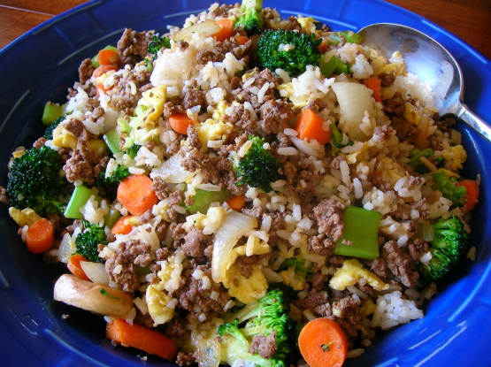 Kittencals ground beef fried rice recipe genius kitchen for What to make with hamburger meat for dinner