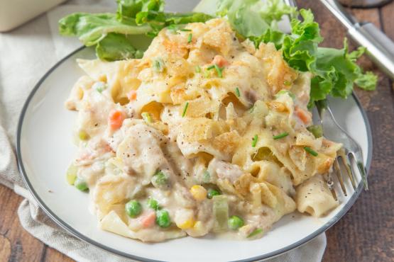 Blue ribbon tuna casserole recipe genius kitchen for How to make tuna fish casserole
