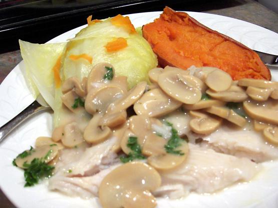 Diabetic low fat fish steaks with mushroom sauce recipe for Fish steak recipe