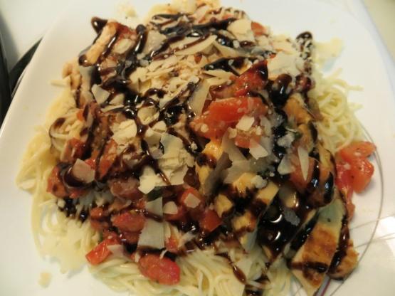 Grilled chicken bruschetta pasta recipe