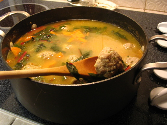 Swiss Chard And Pasta Soup With Turkey Meatballs Recipe ...