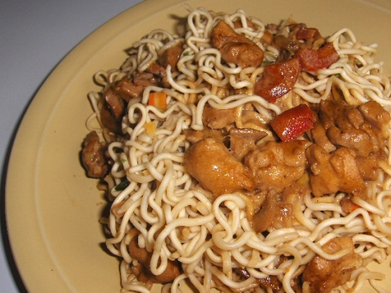 Chicken on pasta with spicy asian style sauce recipe for Q kitchen pasta buffet