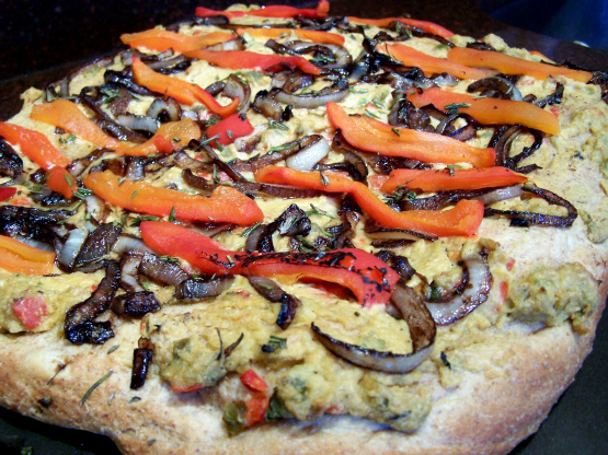 Hummus Pizza With Caramelized Onions And Roasted Red Peppers Recipe ...