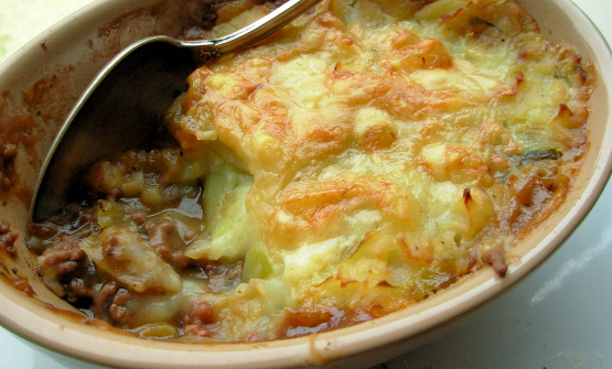 Traditional English Cottage Pie With Cheese And Leek