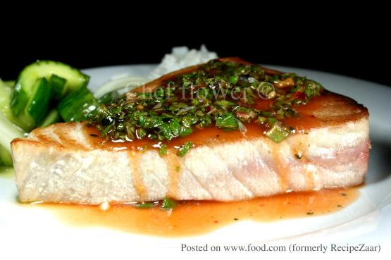 Tuna Swordfish Steaks With Thai Dressing Recipe - Genius ...