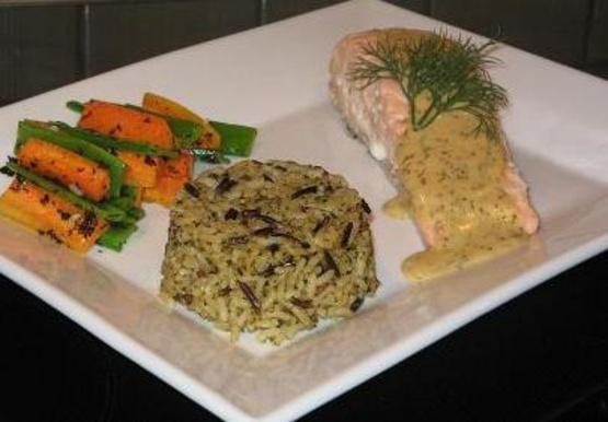 Poached Salmon With A Mustard-Dill Sauce RecipeFood.com